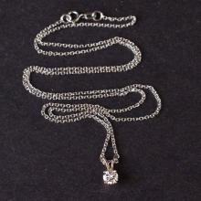 Pendant with Chain in White 10K Gold with Diamond