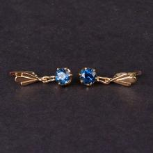 Earrings in Yellow 14K Gold with Synthetic Stones