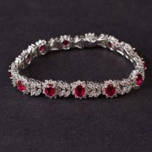 Ladies Bracelet in White 18K Gold with Diamonds and rubies