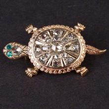 Vintage Turtle Brooch in Pink 10K Gold with Diamond and Emeralds