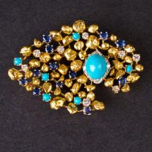Ladies Brooch in Yellow 18K Gold with Diamonds, turquoises and Sapphires