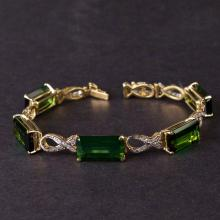 Ladies Bracelet in Yellow 18K Gold with Tourmalines and diamonds