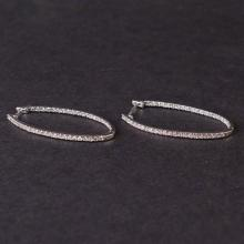Ladies Earrings in White 14K Gold with Diamonds