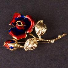 Ladies Enamelled Flowers Brooch in Yellow 18K Gold