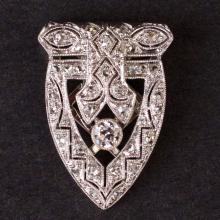 Vintage Ladies Brooch in White 18K Gold with Diamonds