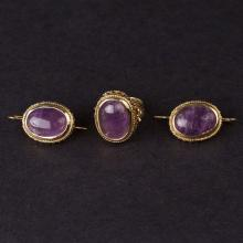 Ladies Earrings and Ring Set in Yellow 14K Gold with Amethysts