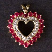 Ladies Heart Pendant in Yellow 10K Gold with Diamonds and Rubies