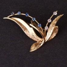 Brooch in Yellow 14K Gold with Diamonds and Sapphires