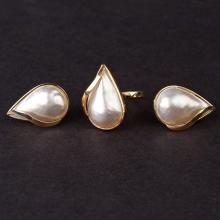 Ladies Earrings and Ring Set in Yellow 14K Gold with Pearls