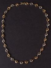 Ladies Necklace in White and Yellow 14K Gold with Diamonds