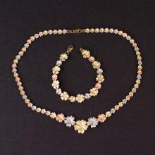 Necklace and Bracelet Set in Yellow, White and Rose 10K Gold