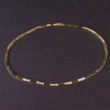 Ladies Necklace in Yellow and White 14K Gold with Diamonds