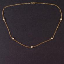 Ladies Necklace in Yellow 10K Gold with Diamonds
