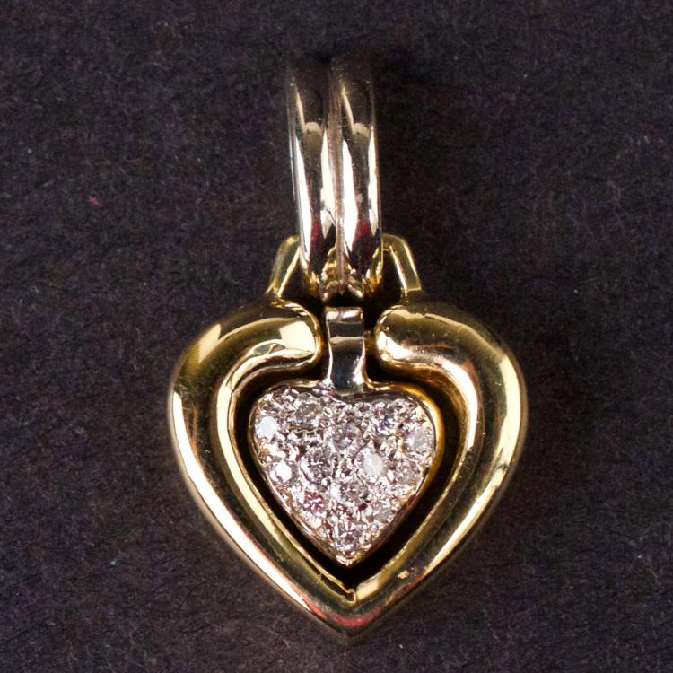 Ladies Heart Pendant in Yellow 18K Gold with Diamonds