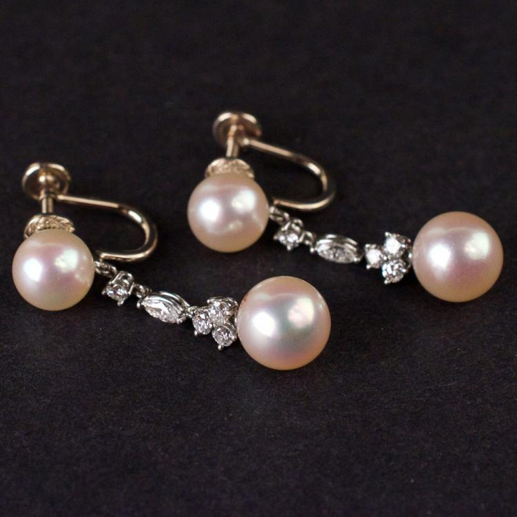 Ladies Pearl Earrings in White 14K Gold with Diamonds