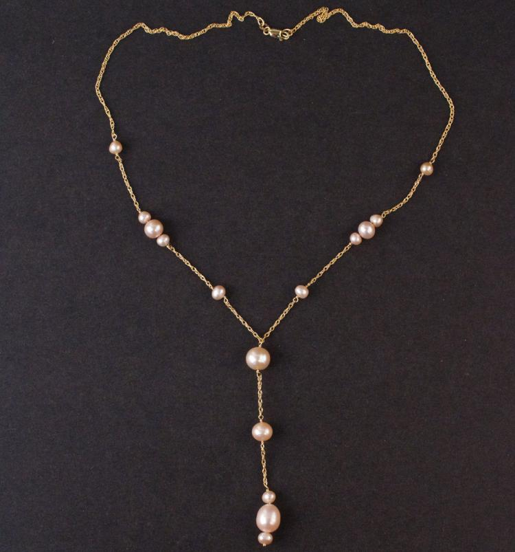 Ladies Necklace in Yellow 14K Gold with Pearls
