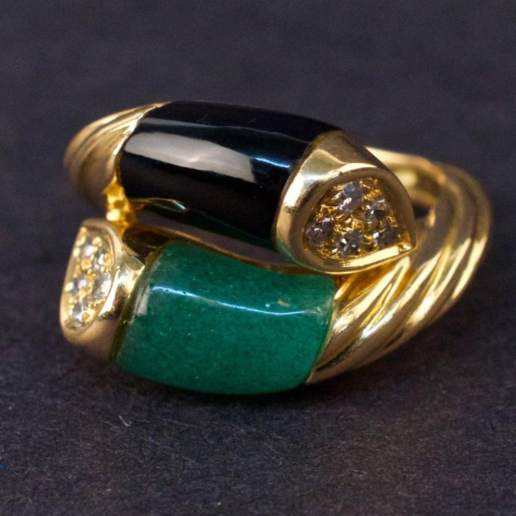 Ladies Ring in Yellow 18K Gold with Quartz, Onyx and Diamonds