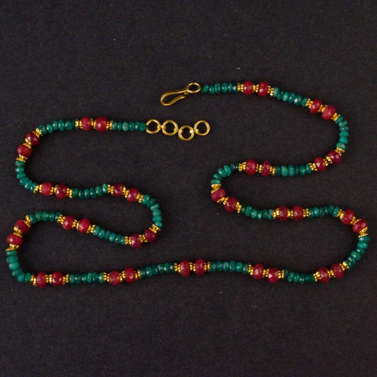 Emerald Beads Necklace with Yellow 22K Gold Clasp