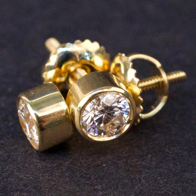 Earrings in Yellow 14K Gold with Diamonds
