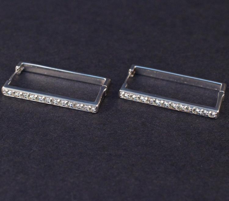 Earrings in White 14K Gold with Diamonds