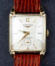 14 Kt Gold 1940's Longines Square Dial Watch