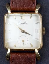 Vintage 1940's Breitling 18 Kt Gold Mens Dress Wristwatch