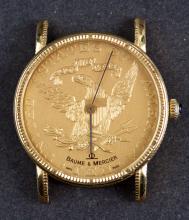 Circa 1980 Swiss Made Baume & Mercier 18 Kt Gold Coin Wristwatch