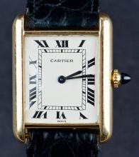 Vintage Ladies 18 Kt Gold Cartier Tank Dress Watch