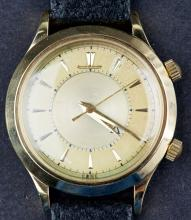 Vintage 18 Kt Swiss Made Gold Jeager Lecoultre Alarm Memovox Wristwatch