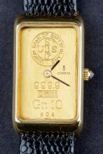 Vintage Swiss Made Corum Mens Dress Watch with 10g Pure Gold Ingot Dial & Diamond Crown