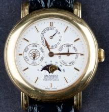 Circa 1990 18 Kt Gold Movado Automatic Perpetuale Calendar Wristwatch with Moon