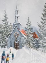 Boucher, Robert (1942- )  Vers la chapelle de Mont-Tremblant (1988)