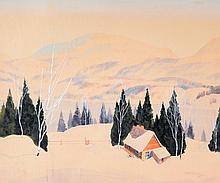 Norwell, Graham Noble (1901-1967)  Maison au bord de l?eau en hiver
