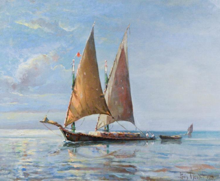 Baudit, Laurent Amedee (1870-1960)  Barque au demi largue plus pres bordee a babord (1939)