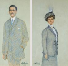 Gilbert, Victor Gabriel (1847-1935) (France) Portrait d?homme (1910) Portrait de femme (1910)