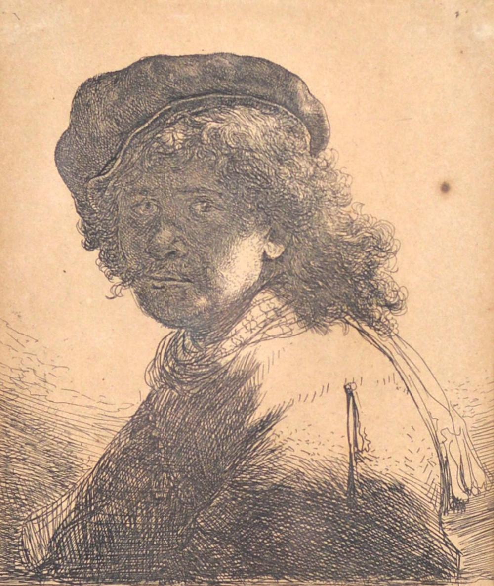 Van Rijn, Rembrandt Harmenszoon - Self portrait in a cap and scarf with the face dark