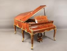 A Fantastic Quality Early 20th Century Louis XV Style Gilt Bronze Mounted Marquetry Six Leg Grand Erard Piano  By François Linke