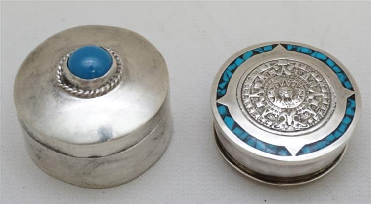 2 STERLING SILVER TURQUOISE PILL BOXES