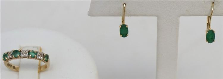 2PC 10KT GOLD EMERALD RING & EARRINGS