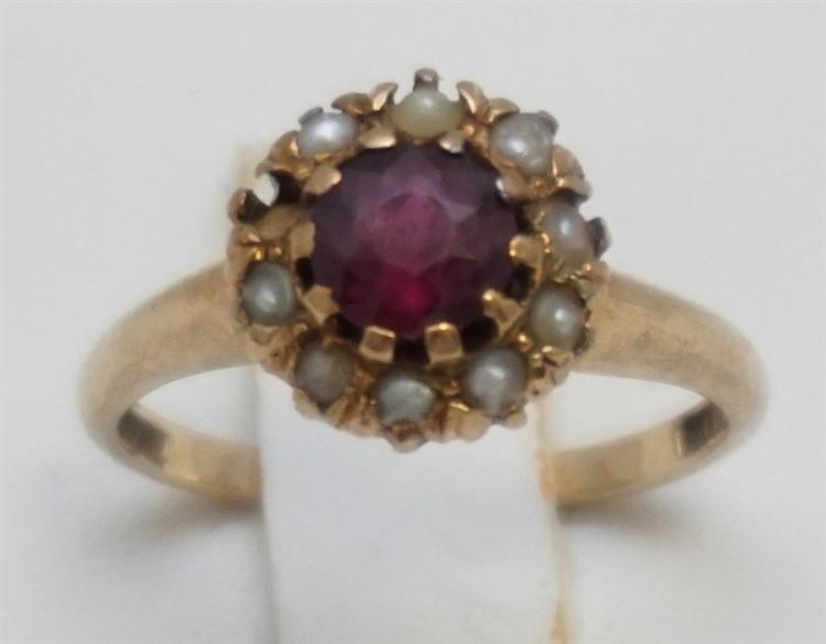 14KT GOLD RED STONE & SEED PEARL RING- SIZE 5.25