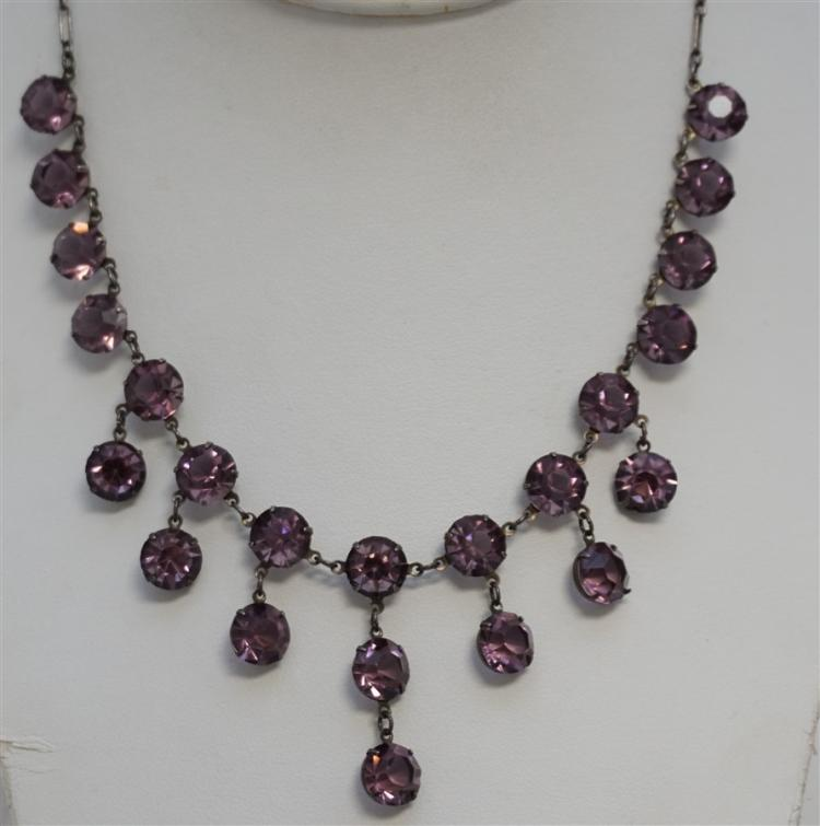 c. 1910 STERLING AMETHYST CRYSTAL NECKLACE