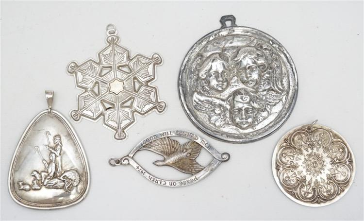 5 STERLING SILVER ORNAMENTS