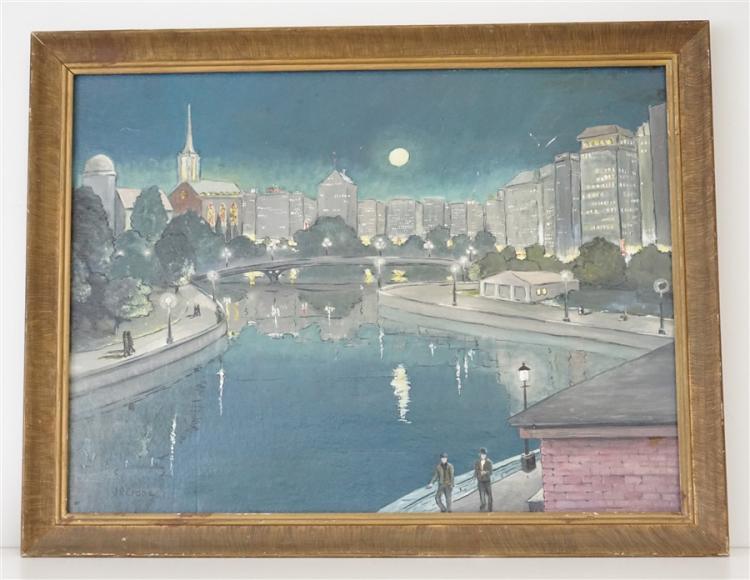 MOONLIT CITYSCAPE OIL J.R. CRANE