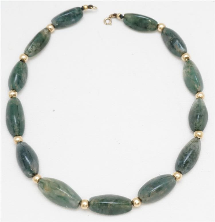 """GREEN AGATE & GOLD BEAD NECKLACE- 15.75"""""""