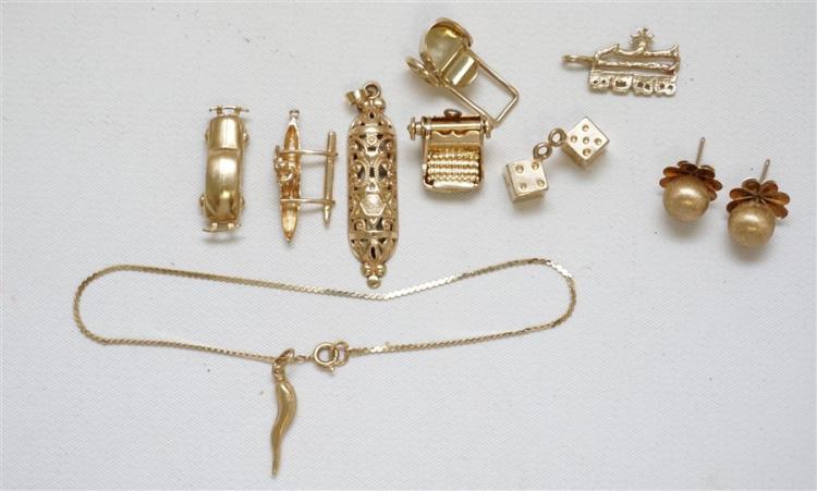 11 pc 14k GOLD CHARMS - EARRINGS - BRACELET 18.30 GRAMS)