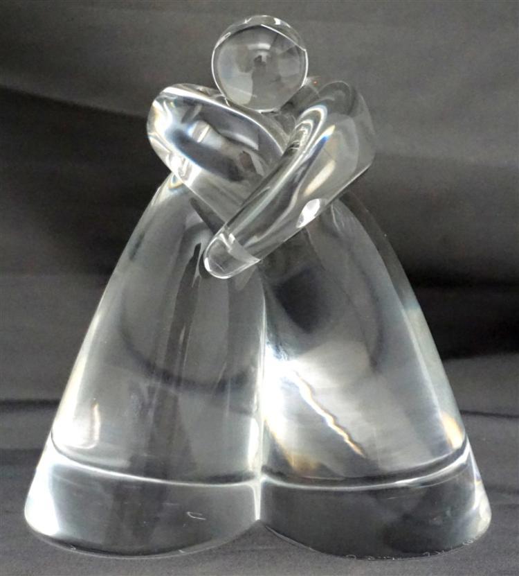 STEUBEN LOVE EMBRACE GLASS SCULPTURE