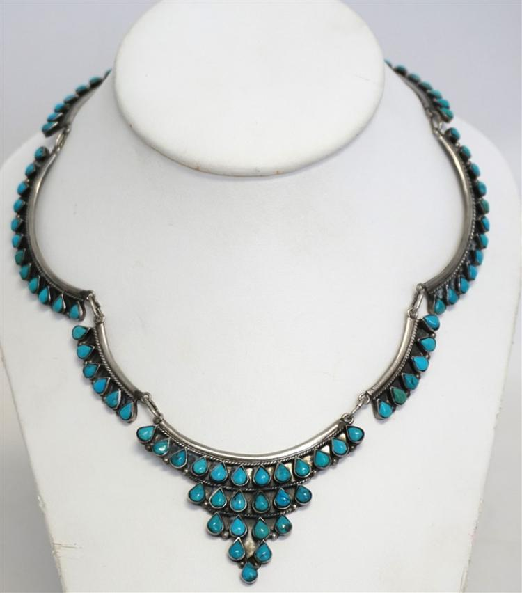 VINTAGE TAXCO STERLING TURQUOISE NECKLACE