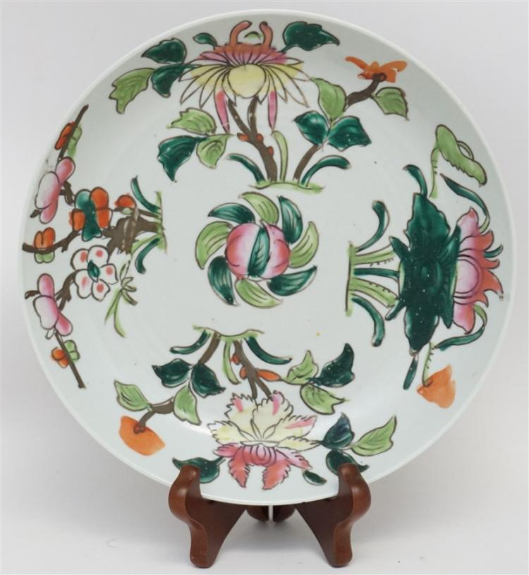 CHINESE ENAMELED PORCELAIN PLATE PERSIMMON LOTUS