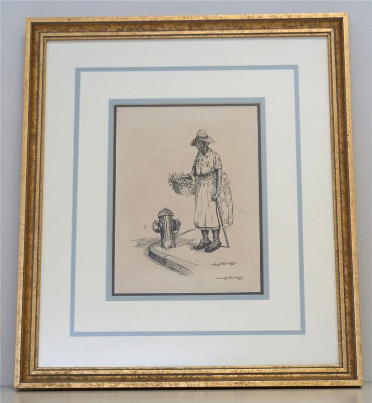 PEN & INK CHARLESTON FLOWER LADY - MCGREGOR