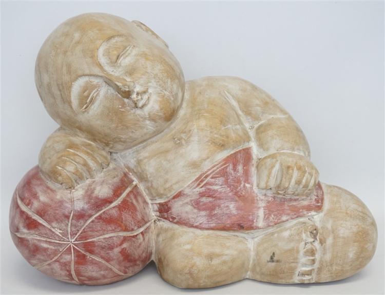 LARGE CARVED SLEEPING BUDDHA BABY